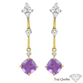 14KT Yellow Gold Amethyst, White Topaz and Diamond Earrings RETAIL $305.00