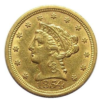 1854 U.S. $2.50 Gold Liberty - Tough To Find