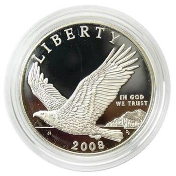 2008-P DCAM Proof U.S. Bald Eagle Silver Dollar In Its Original Mint Packaging With COA