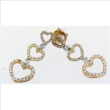 6.10 Grams 18K Tri-Color Heart Shape Diamond Dangling Earrings