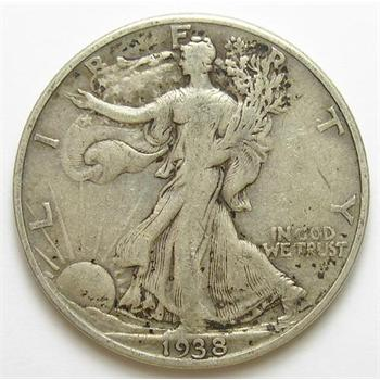 Tough Date 1938-D Silver Walking Liberty Half Dollar - Only 491,600 Minted
