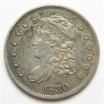 Very Sharp 1830 Silver Capped Bust Half Dime - Tough To Find