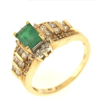 0.85ct Emerald & Diamond 14kt Gold Ring