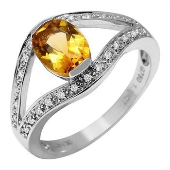 18KT White Gold Citrine With DIAMOND Ring RETAIL $1,810
