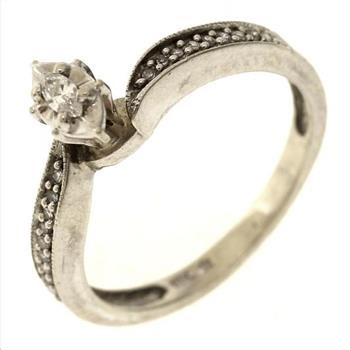 2 Gram 10kt White Gold Ring With Diamond Accents