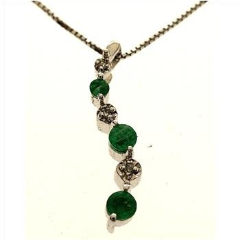Emerald & Diamond 10kt White Gold Pendant With Necklace