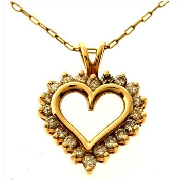 0.50ctw Diamond 14kt Gold Heart Pendant