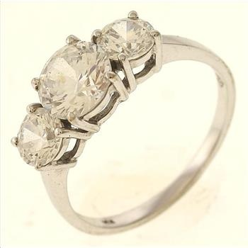 3 gram 14kt white gold ring with colorless stones