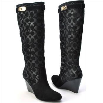 Coach Shoes A7278 Angie Black Suede Fashion Knee High