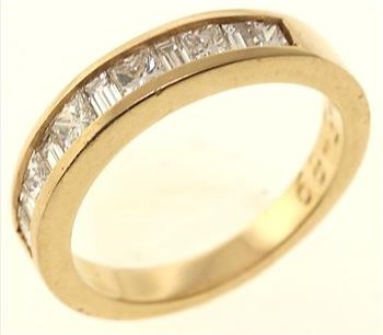 1ctw Baguette And Princess Cut 14kt Yellow Gold Wedding Band