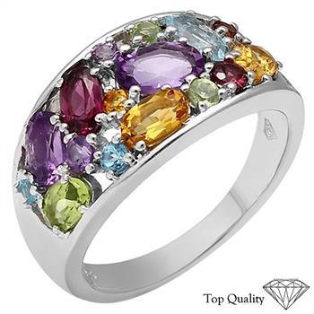 925 Silver Blue Topaz, Swiss Blue Topaz, Brazilian Garnet, Garnet, Amethyst, Citrine, Peridot Ring, Retail $140