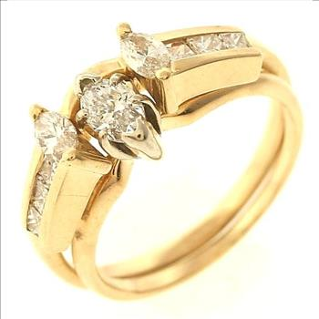 86ctw Marquise and Princess Cut Diamond Ring and Ring Jacket in 14K ...