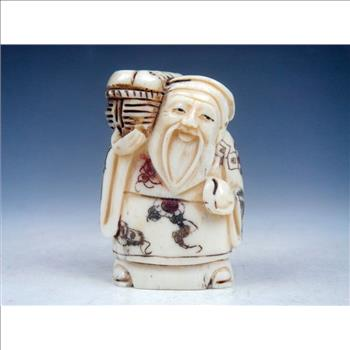Antique Bone Japanese Netsuke Old Man Hold Peach Sculpture Decor