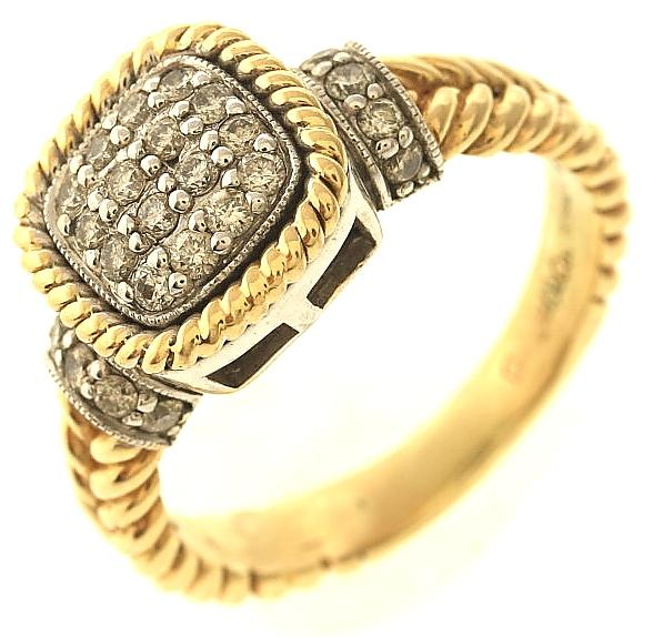 6 2 gram 14kt two tone gold ring with accents