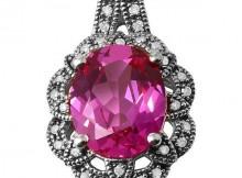 925 Silver Created Raspberry Corundum with Diamond Pendant, Retail $265