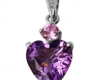 925 Silver Created White Sapphire, Amethyst, Synthetic