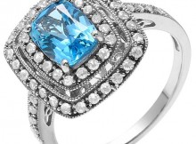 925 Silver Licensed Swiss Blue Topaz, Created White Sapphire Ring, Retail $170