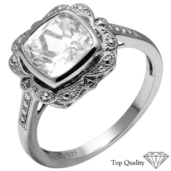 925 Silver Created white Sapphire Ring