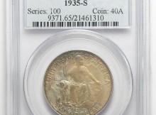 Scarce, GEM Uncirculated PCGS Slabbed MS-65 1935-S Silver California Exposition Commemorative U.S. Half Dollar