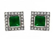 New Silver Coated Brass CZ Nice Earrings